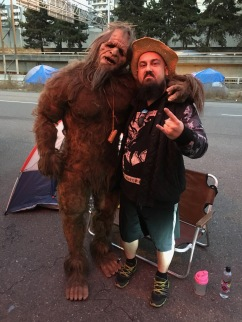 Interview with Bigfoot in Seattle, WA. In the picture with the interviewer: Lane Steele.