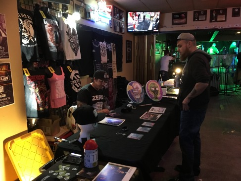 Merch setups at The Original Bar and Nightclub in Minot, ND