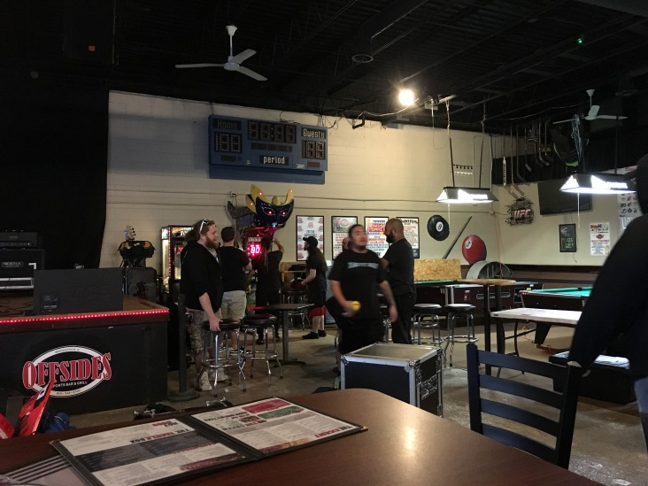 Pre-show playing at Offsides in Woodstock, IL