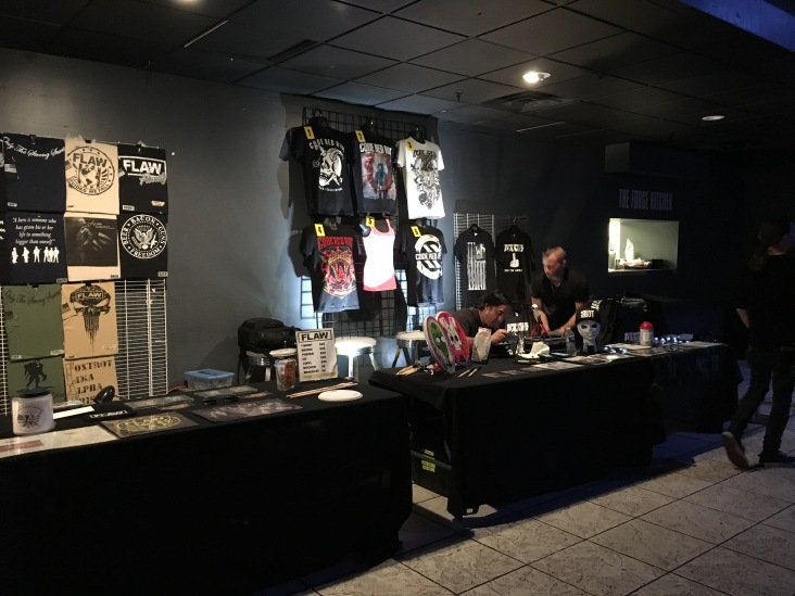 Merch setups at The Forge in Joliet, IL