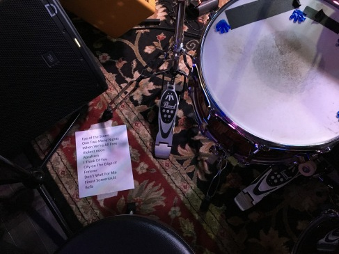 Pablo Dylan setlist on stage at Big Rock Pub in Indio, CA. Photo credit: Erika Pursiainen