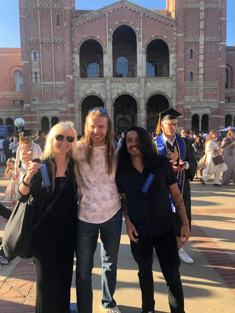 UCLA Extension graduates 2019. With me in the picture: Knuutti Juopperi and Nico Prada who graduated from the independent music production program. Photo credit: Erika Pursiainen