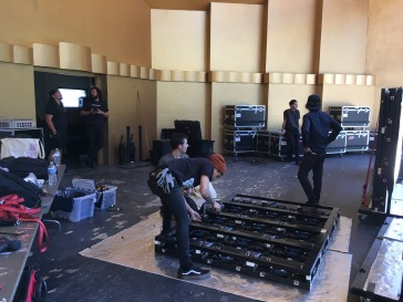Setting up the LED wall for my first show as a freelance stagehand and stage manager after the Levitt internship. Photo credit: Erika Pursiainen